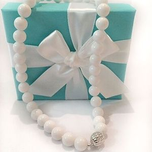 Tiffany 10mm Bead Ball White Dolomite Necklace